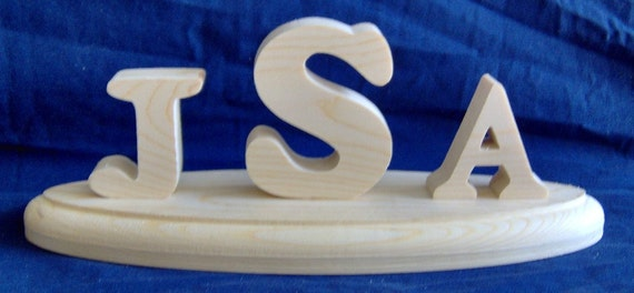 Wooden Monogram on an Oval Base. Free Shipping!