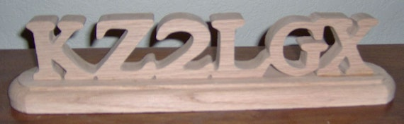 Wooden ham radio call sign made from Red Oak. Free Shipping!