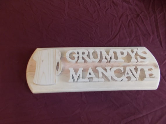 Grumpy's Mancave Handcrafted Woodem Plaque. Free Shipping!