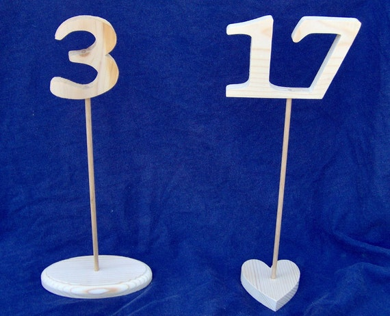 Wooden Table Numbers With Stands