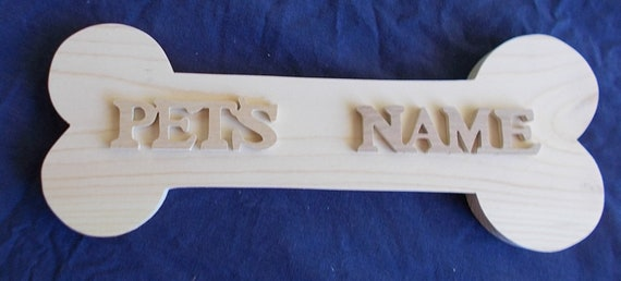 Wooden Dog Bone With Your Pets Name