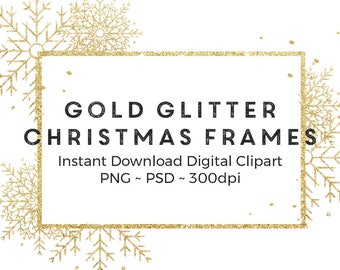 gold christmas frames photo overlay christmas clipart gold glitter confetti frames instant download commercial use