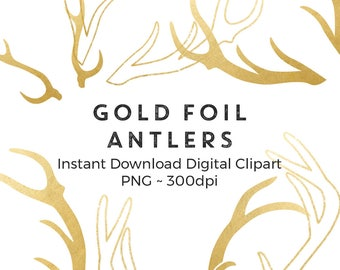 Gold Reindeer Antler Clipart, Easter Photography Overlay, Gold Spring Wedding Clipart, Instant Download, Commercial Use