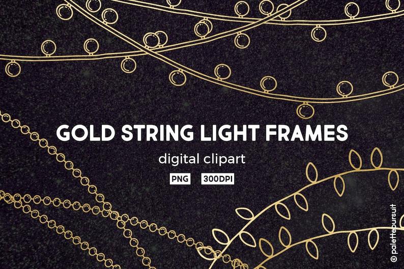 Christmas Chain Clipart.64 Gold String Lights Frames Digital Clip Art Christmas Clipart Logo Fairy Lights Frames New Year Digital Clipart Snapchat Commercial