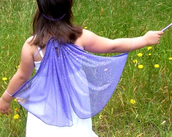 Purple Fairy/Butterfly Wings and Wand Set, Purple and Silver Sparkle Wings