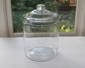 Vintage Large Clear General Store Counter Glass Jar with Glass Cover, Vintage Glass Tobacco Jar with Glass Lid, Large Glass Storage Jar