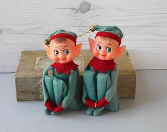 Vintage Pair of Kneehugger Elves, Vintage Knee Hugger Pixie, Vintage Christmas Tree Ornament, Vintage Felt Ornament, Vintage Japan Ornament