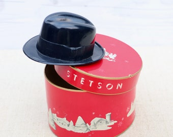 88a76cdc9e778 Vintage Small Plastic Gift Purchase Certificate or Salesman Sample Black Fedora  Hat with Original Box - Stetson