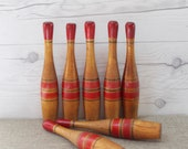 Vintage Wood Bowling Pin Set, Vintage Set of 7 Striped Wooden Bowling Pins, Vintage Wooden Skittles Game