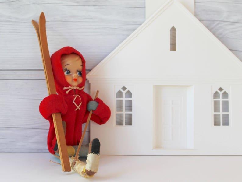 Vintage Large Red Girl Elf on Skis Vintage Injured Skier Elf Figure Vintage Felt Elf on Skis Shelf Sitter