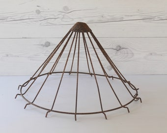 Vintage Wire/Metal Chicken Feeder Cage Top, Vintage Spoked Metal Cage, Vintage Metal Art Assemblage Piece