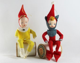 Vintage Pair of Pixie Ornaments, Vintage Christmas Elf Ornaments, Vintage Holiday Decor