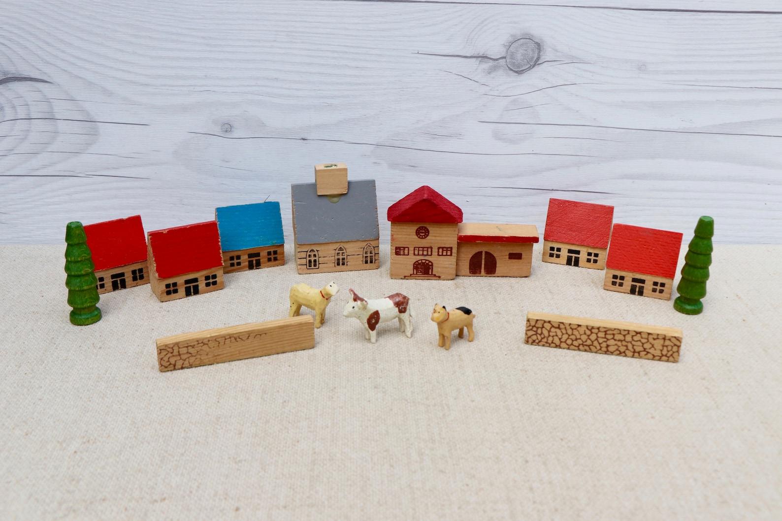 Vintage Miniature Wooden German Erzgebirge Village Set