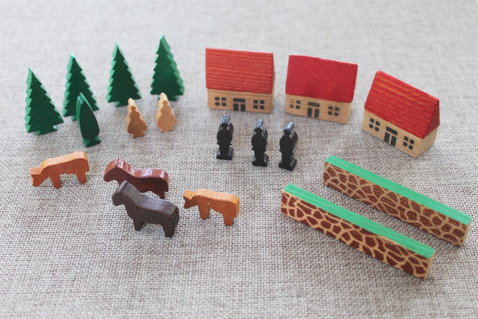Vintage Miniature Wooden German Erzgebirge Village Set