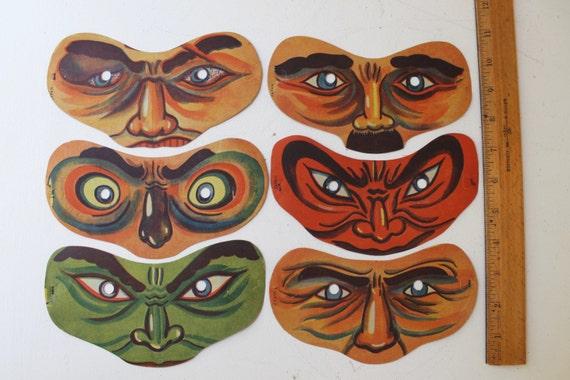 Vintage Lot of 6 Paper Halloween Masks, Vintage Pa