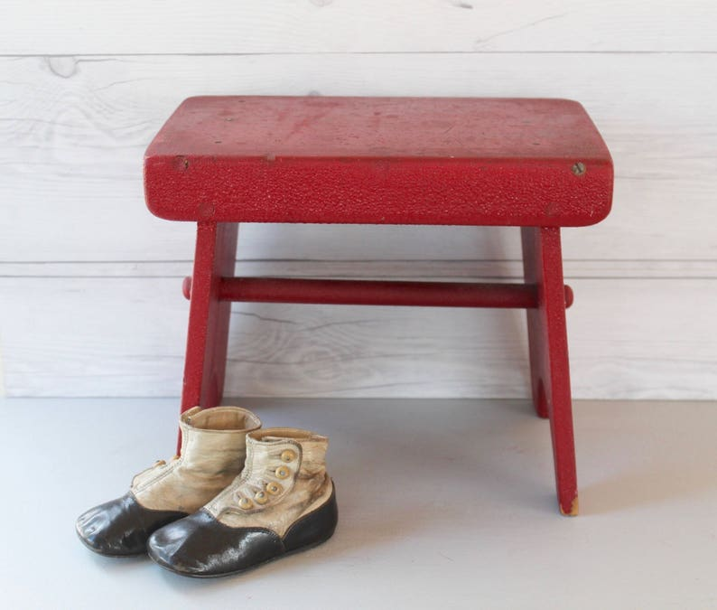 Awe Inspiring Vintage Small Red Wood Stool Vintage Red Wooden Step Stool Vintage Rustic Wood Decor Caraccident5 Cool Chair Designs And Ideas Caraccident5Info