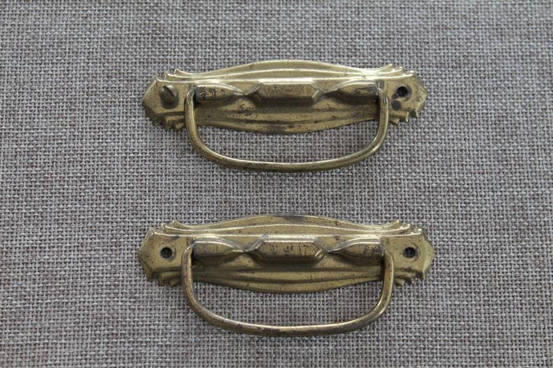 2 Art Deco Style Metal Drawer Pulls Vintage Tin Hardware