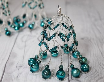 Set of 3 Antique Bell Ornaments - Wire and Cerulean Blue Mercury Glass Bead, 1920s Wire Christmas Tree Ornament