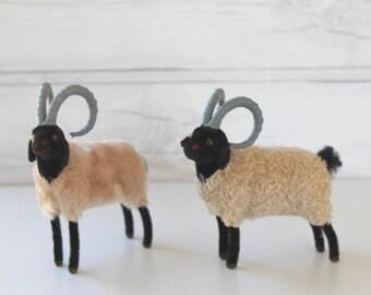 Vintage Pair of Wagner Handwork Germany Rams/Sheep, Vintage German Woolly Figure