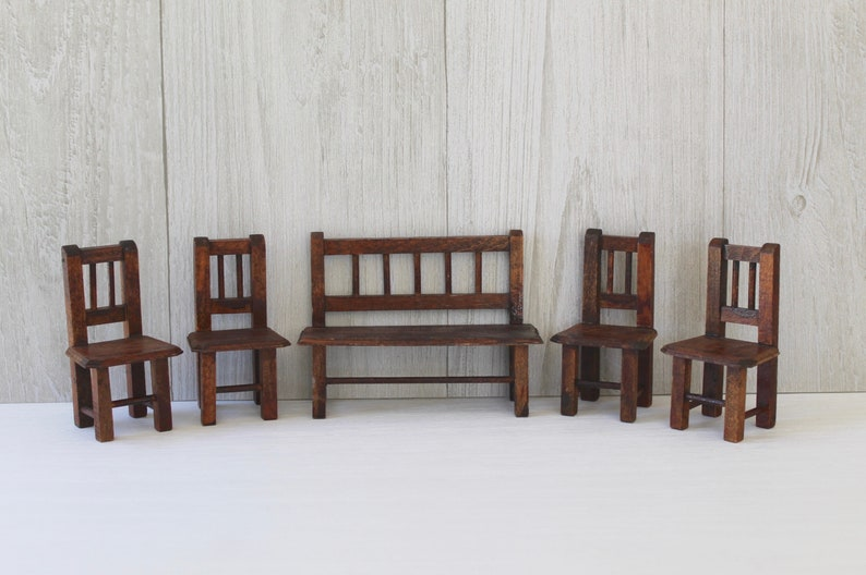 Vintage Wood Dollhouse Chairs 4 And Bench Vintage Wooden Dollhouse Furniture Chairbench Set