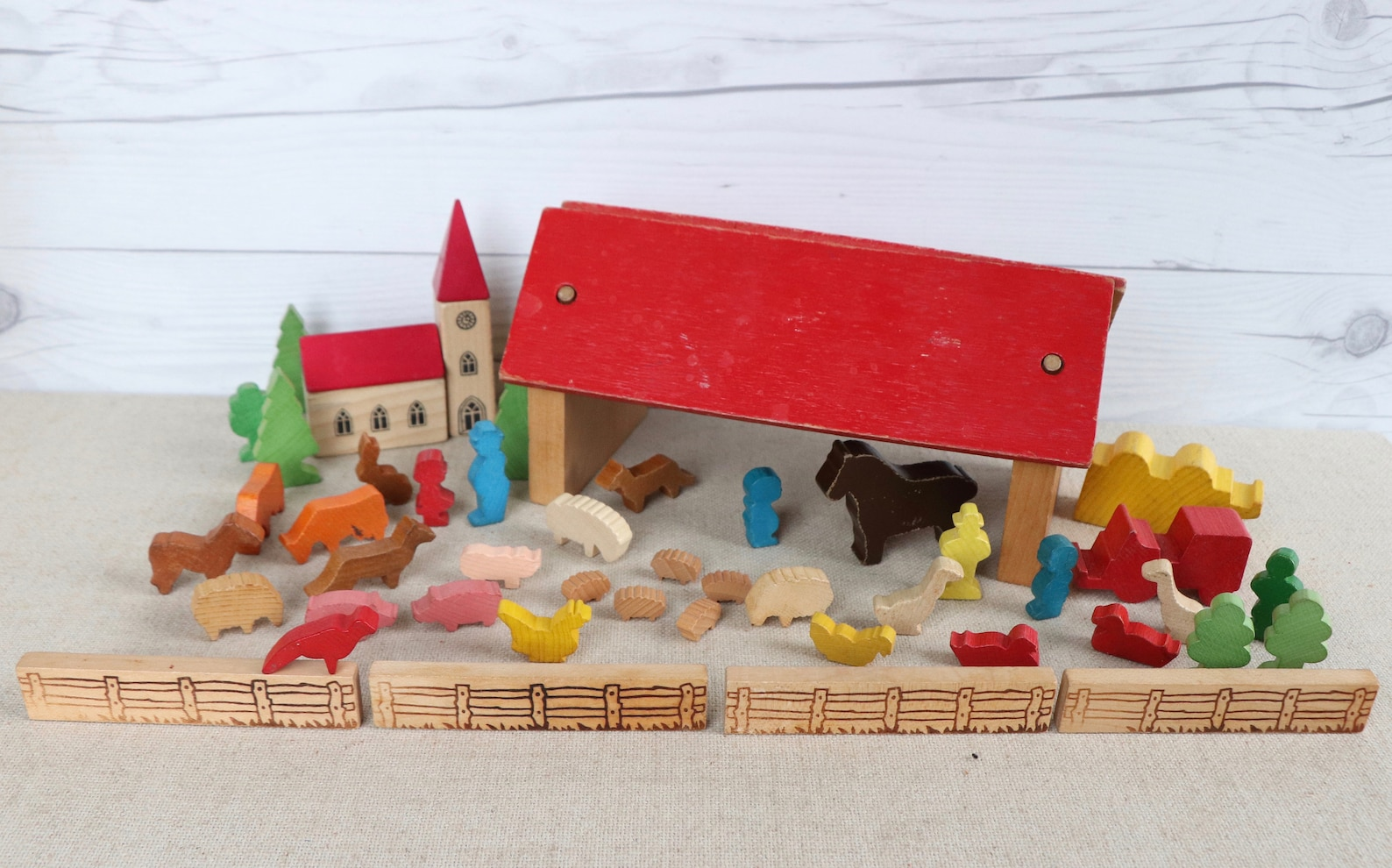 Vintage Miniature Wooden German Erzgebirge Village Set, Vintage Wood House, Vintage Wood Town, Vintage Wood Farm