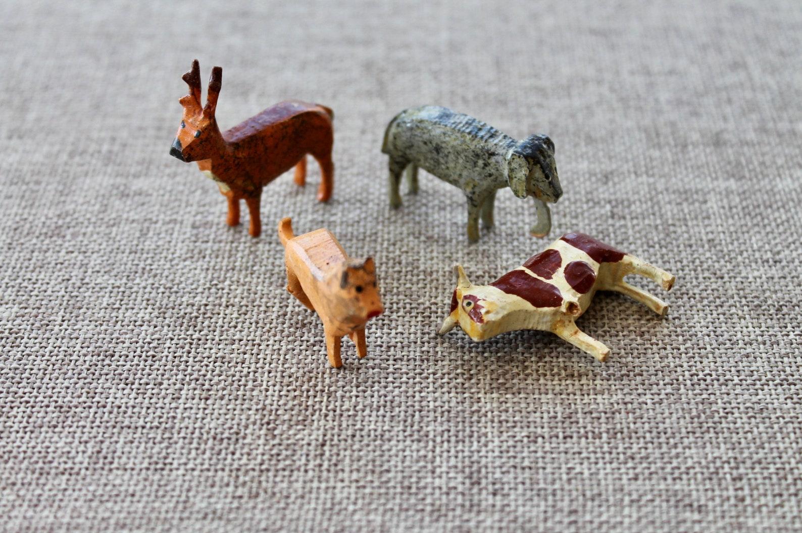 Vintage 4 Wooden German Erzgebirge Animals - Larger Scale Size, Vintage Painted Wood Animal Miniatures - Cow, Cat, Deer, Elephan