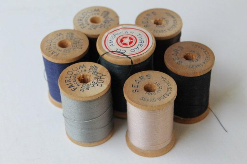 1950s Lot Of 7 Vintage Wood Thread Spools Fairloom And Sears Spools Lot E