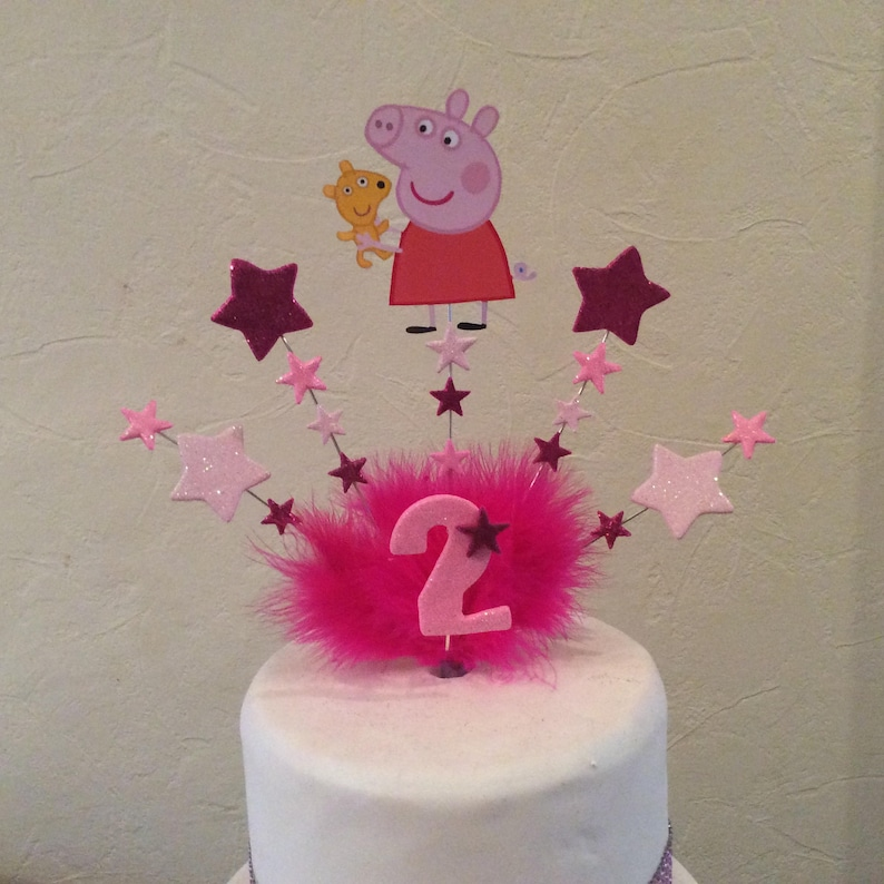 Peppa pig or George cake topper with your choice of age ...