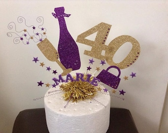 Large champagne bottle and glass cake topper  or centre peice with personalised age