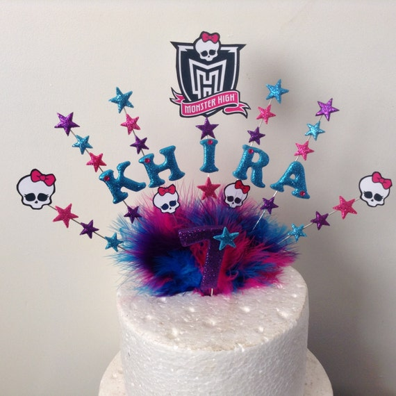 Prime Monster High Skull Name And Age Cake Topper Made In Your Etsy Personalised Birthday Cards Beptaeletsinfo