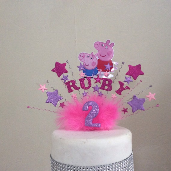 Remarkable Peppa Pig Or George Pig Cake Topper With Your Age And Name Etsy Funny Birthday Cards Online Overcheapnameinfo