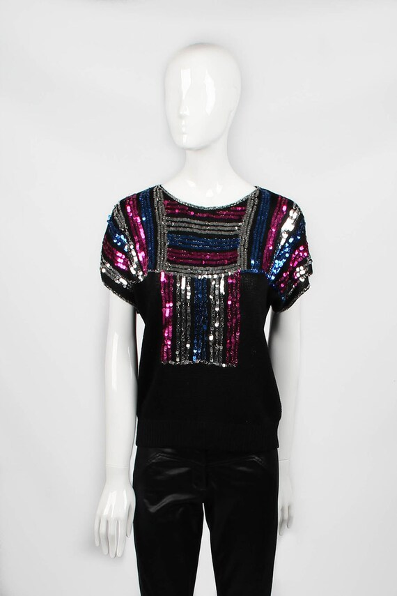 Vintage 1970s Disco Knitted Top