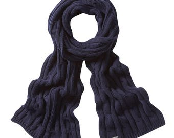 Luxuriously soft cashmere cable scarves. Knitted in Scotland. Jet Blue