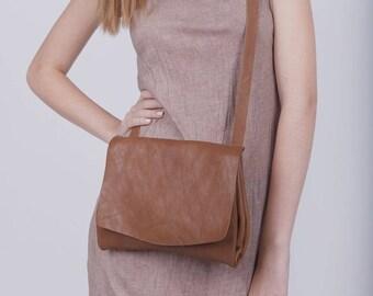 Brown Leather Crossbody Bag, Messenger Bag, Small Leather Bag, Leather Purse, Boho Shoulder Bag, Handmade Bag, Gift for Her - Nicita Bag
