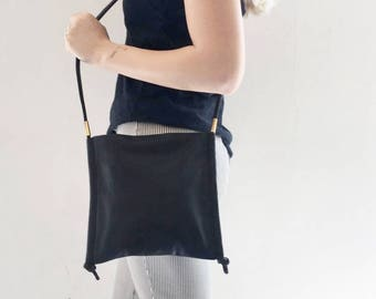 Soft Leather Bag, Black Crossbody, Medium Purse, Women's Bag, Square Bag, Every Day Bag, Pouch Crossbody Bag, Shoulder Bag - Freddie Bag
