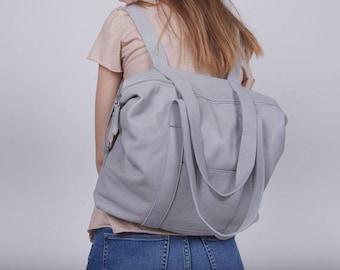 Oversized Purse, Oversized Backpack, Weekender Backpack, Light Grey Leather Bag, Diaper Bag, Grey Shoulder Bag, Diaper Backpack - Noni