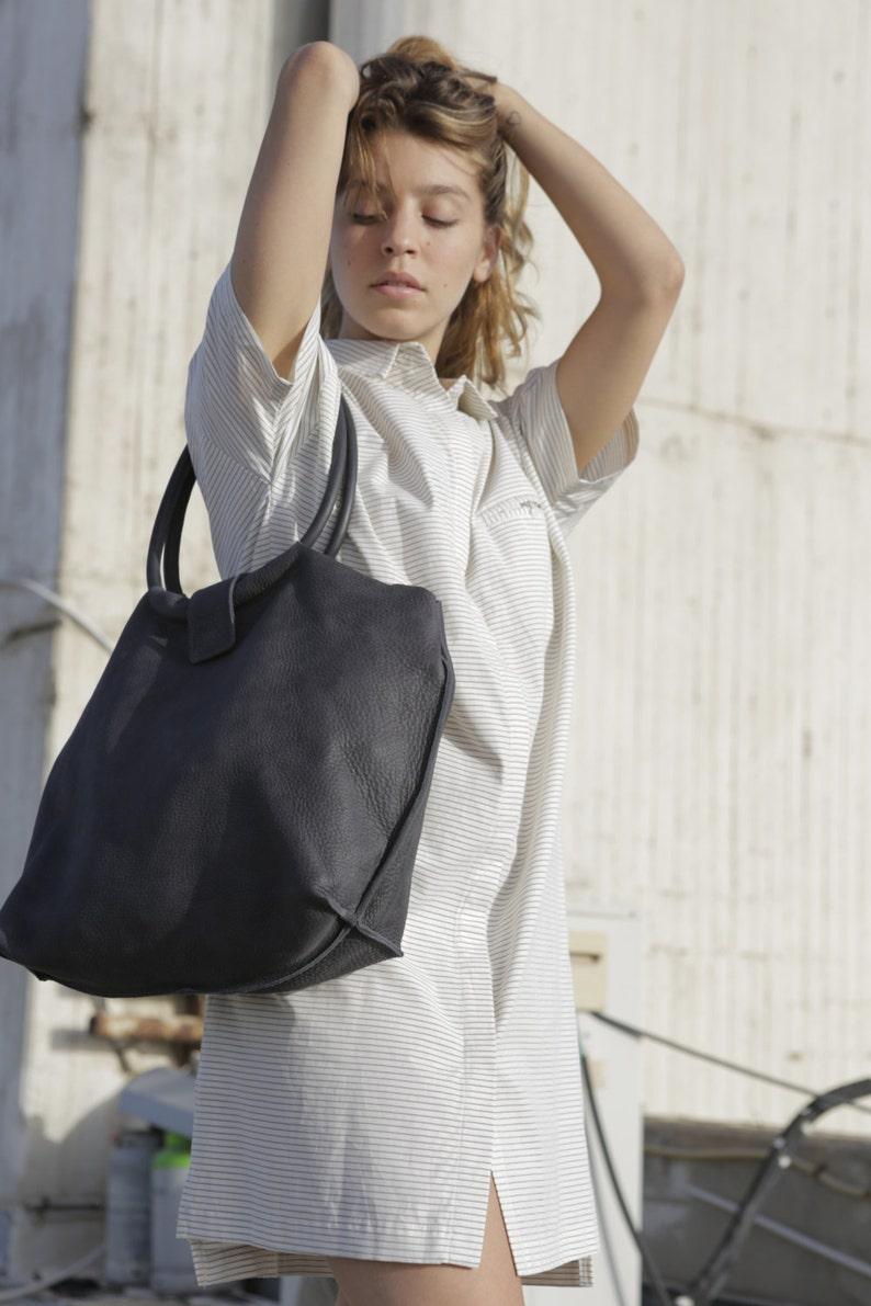 e999ff44c22a Dark Grey Soft Leather Tote Bag Gray Purse Office Tote Grey