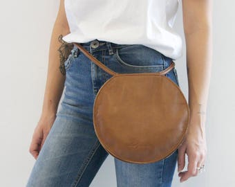 Round Leather Bag, Brown Leather Clutch, Circle Clutch Bag, Unique Crossbody Bag, Gift Idea for Her, Unique Clutch, Brown Cross Body Clutch