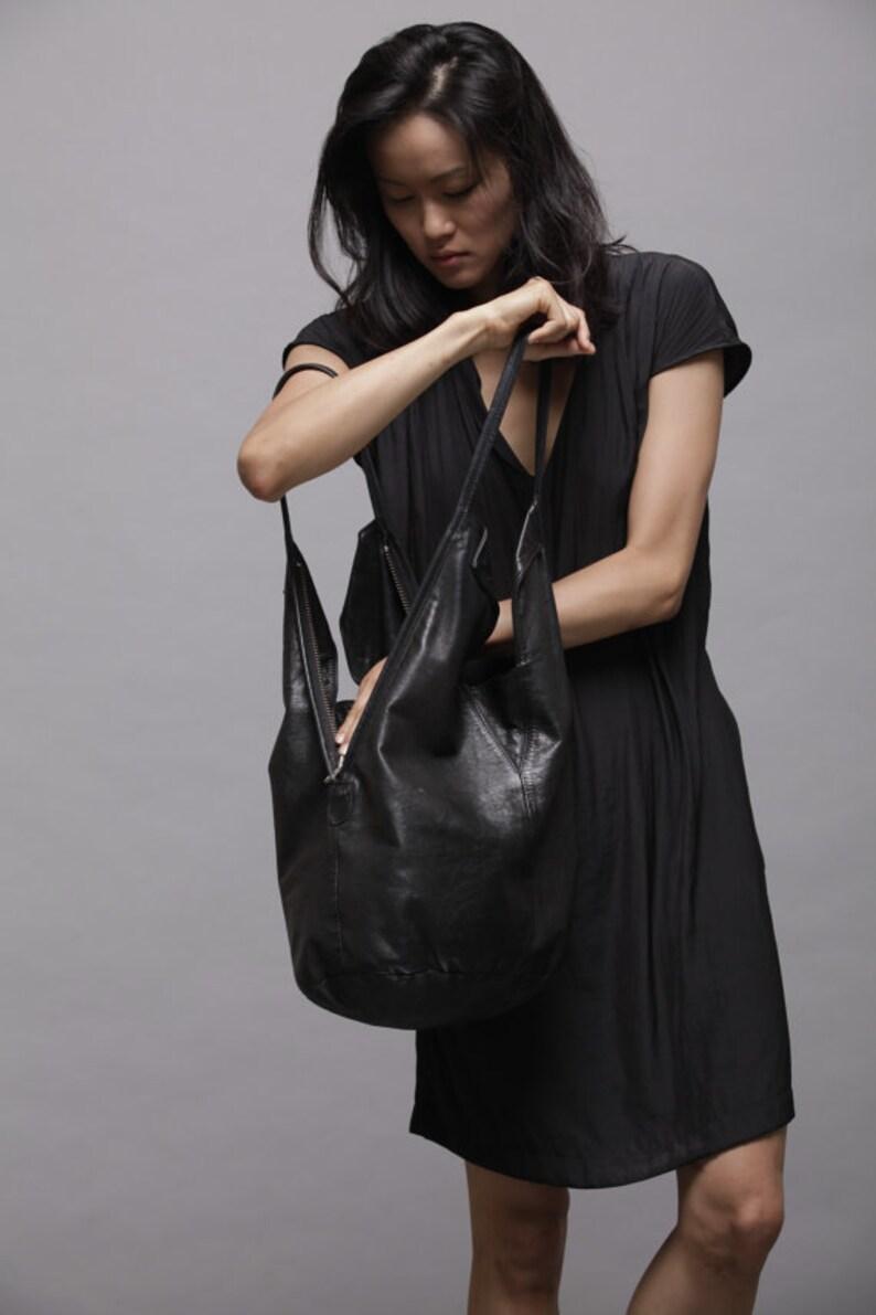 Black Leather Tote Bag Soft Leather Bag Shoulder Bag image 0