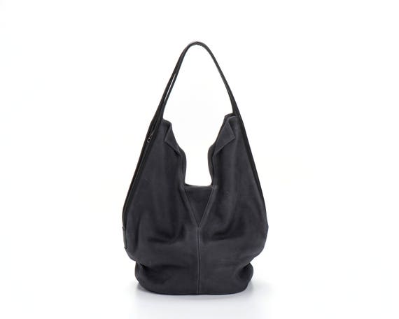 4f735a609dd2 Dark Grey Leather Tote Bag Office Bag Grey Leather Handbag