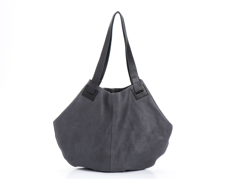 fda58305fc06 Dark Grey Leather Tote Bag Soft Leather Handbag Big Gray