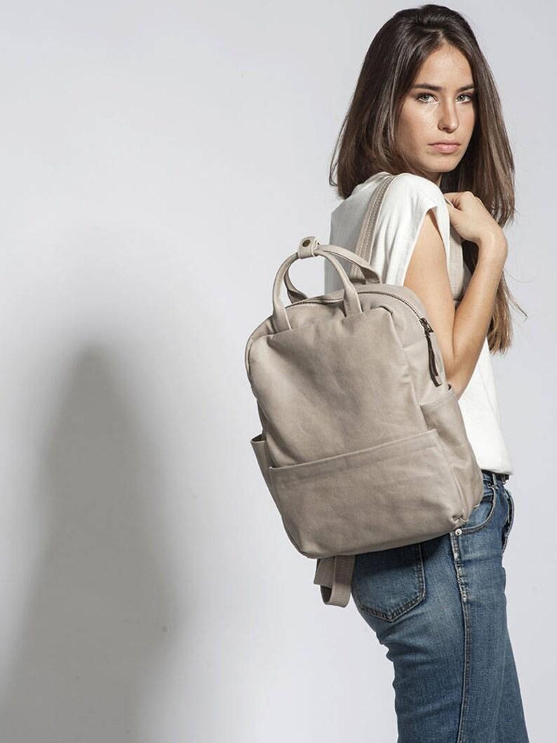 2d6e907e9800b Damen Leder Rucksack Beige Sand Tasche Reißverschluss Leder
