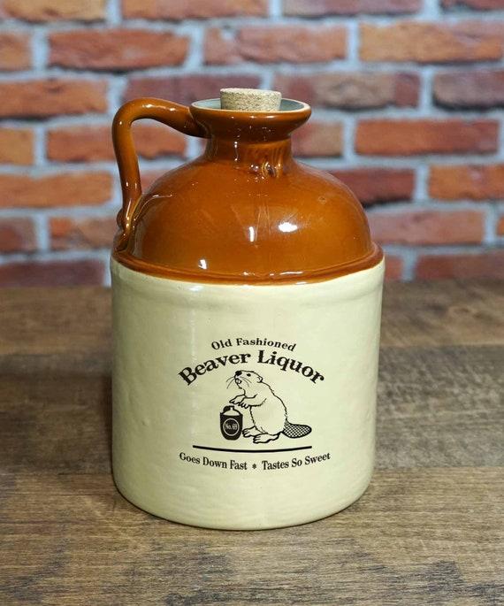 Ceramic Moonshine Jug with 'Beaver Liquor' Design | Etsy