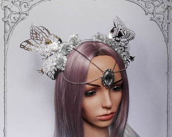 "Fairy Headdress ""Silver Pixie"""