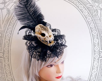 Cat Skull Fascinator (Vegan , Goth, Black, Skeleton, Baroque, Steampunk)