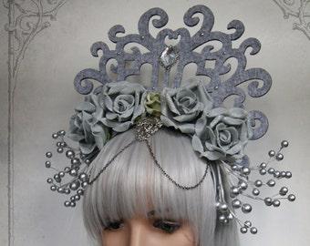 Ice Queen Headdress ( fascinator, wedding, fantasy, silver )