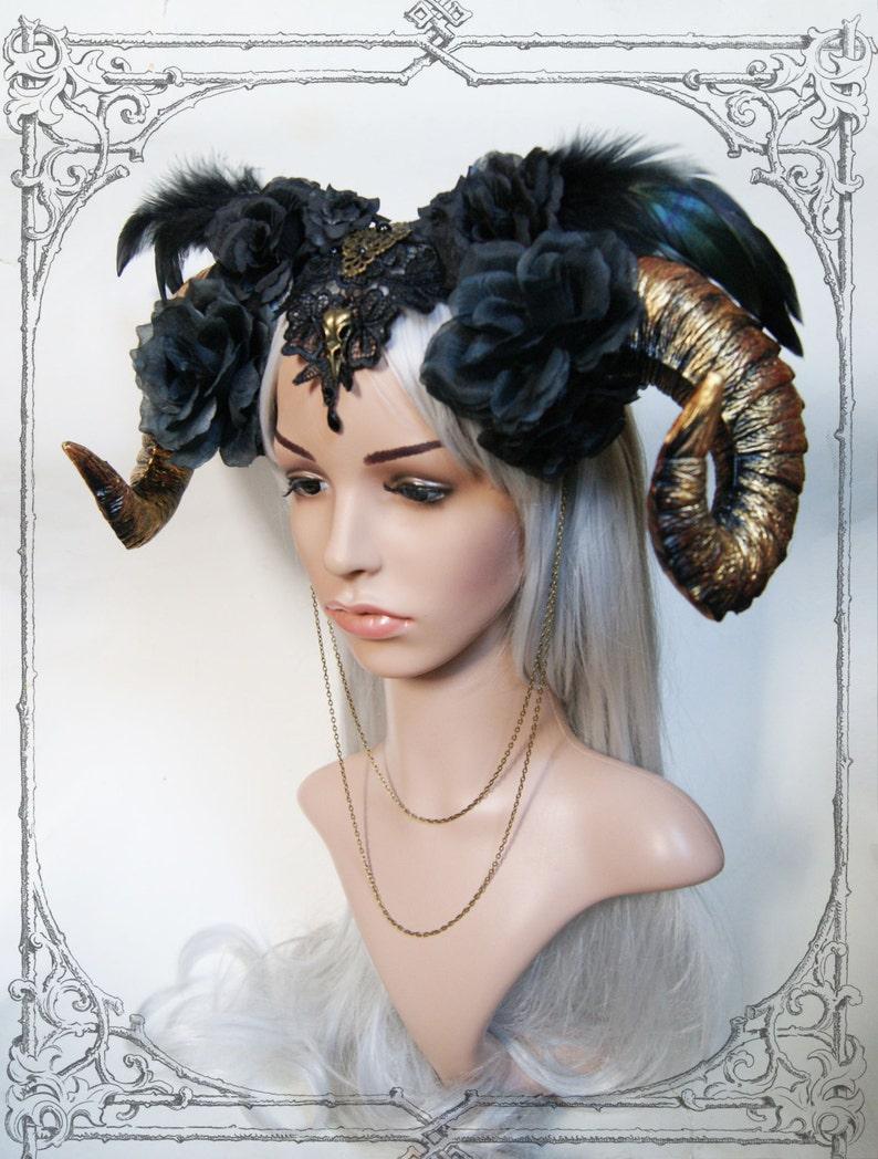 Ram Horn Headdress  Gold  Roses Goth  Fantasy Headpiece  image 0