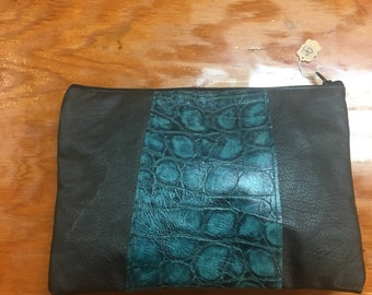 Brown and teal block clutch