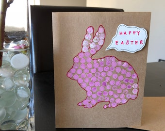 Easter bunny card, Happy Easter card, easter card, Easter rabbit card,Bunny polka-dotted card, Happy Easter bunny card