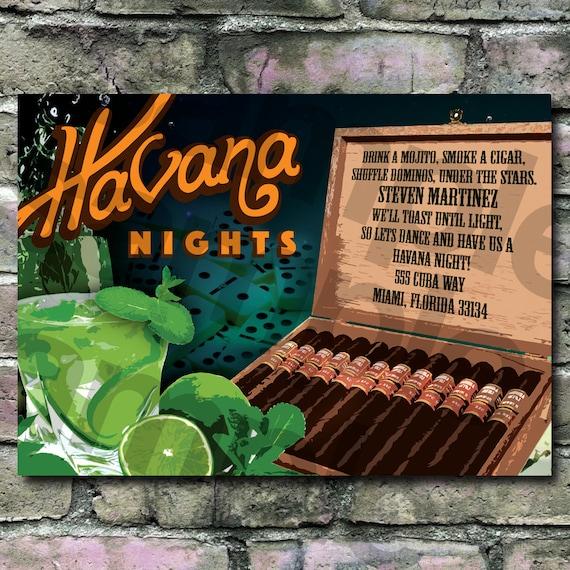 Cuban theme Havana nights invitation Mojitos Cigars